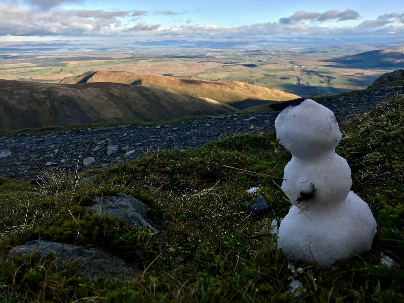 A snowman at the peak of Blencathra